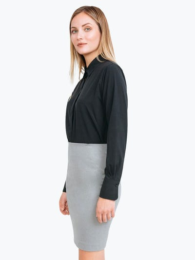 Women's Grey Heather Kinetic Pencil Skirt on Model Facing to Her Right