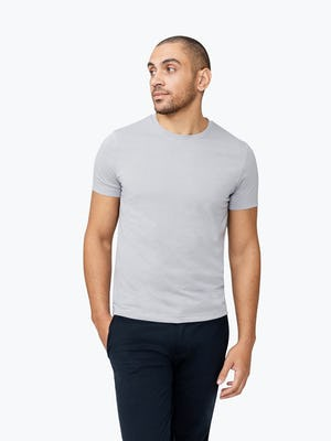 Men's Stone Previous Generation Composite Merino Tee  on Model Walking Forward with Hand in Pocket