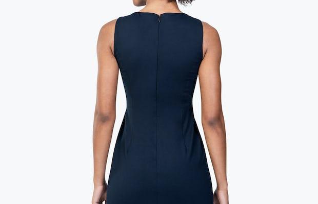 Women's Navy Kinetic Sheath Dress on Model Facing Backward