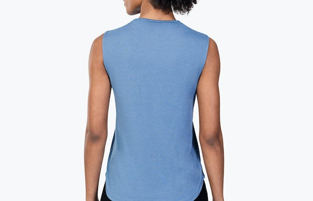 Women's Storm Blue (Recycled) Composite Merino Tank on Model Facing Backward