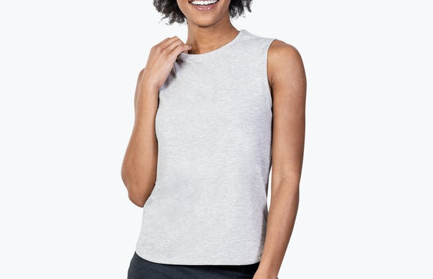 Women's Grey Heather (Recycled) Composite Merino Tank on Model Touching Her Collar