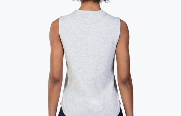 Women's Grey Heather (Recycled) Composite Merino Tank on Model Facing Backward
