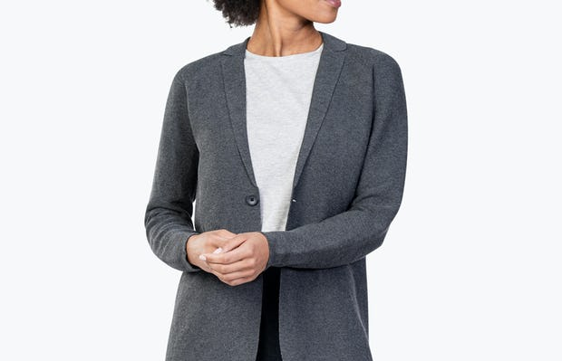 Women's Charcoal 3D Print-Knit Blazer on Model Adjusting Her Cuff