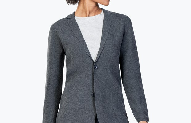 Women's Charcoal 3D Print-Knit Blazer on Model Looking to Her Left