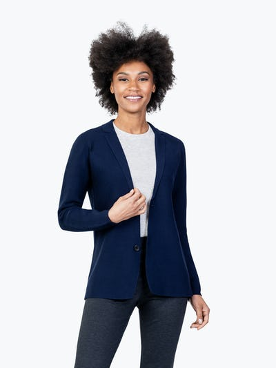Women's Navy 3D Print-Knit Blazer on Model with Right Hand on Her Lapel