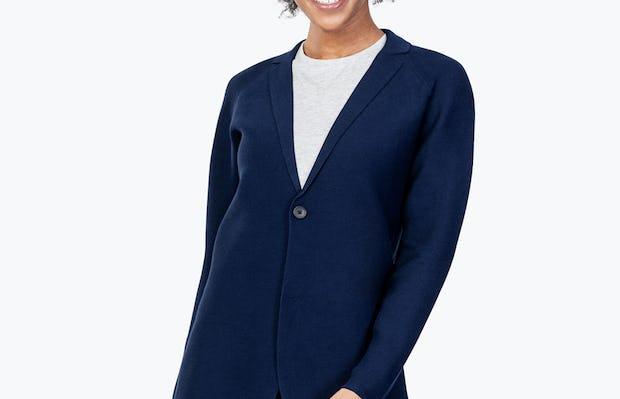 Women's Navy 3D Print-Knit Blazer on Model Leaning to Her Left