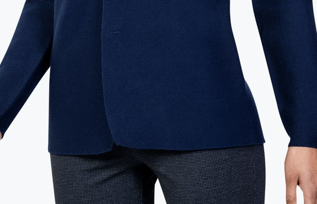 Women's Navy 3D Print-Knit Blazer on Model in Close-up of Front of Blazer Tails