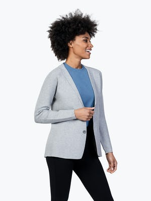 Women's Light Grey 3D Print-Knit Blazer on Model Facing to Her Left