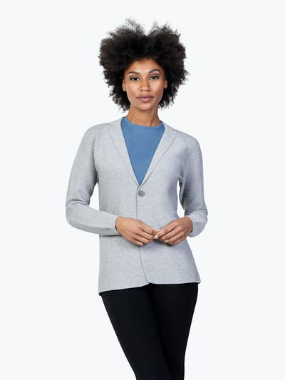 Women's Light Grey 3D Print-Knit Blazer on Model Facing Forward