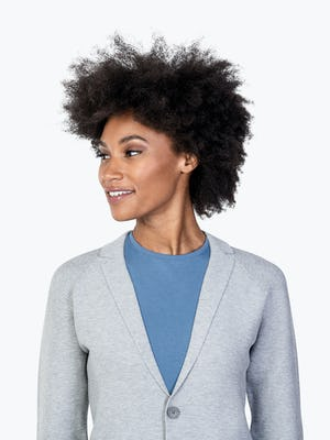 Women's Light Grey 3D Print-Knit Blazer on Model in Close-up of Blazer Lapels