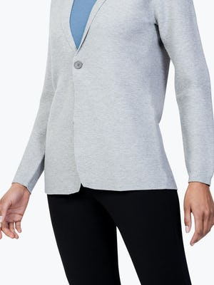 Women's Light Grey 3D Print-Knit Blazer on Model in Close-up of Front Blazer Tails