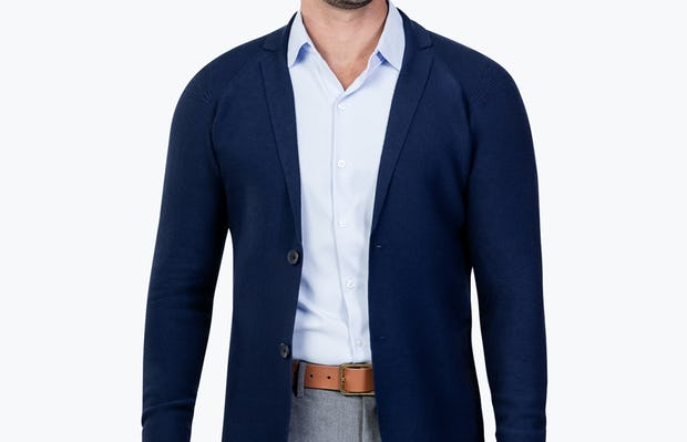 Men's Navy 3D Print-Knit Blazer model unbuttoned and facing forward