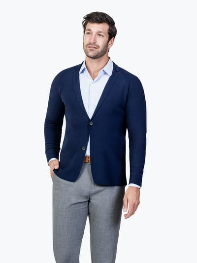 Men's Navy 3D Print-Knit Blazer model buttoned with hand in pocket