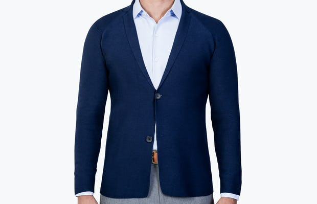 Men's Navy 3D Print-Knit Blazer model buttoned and facing forward