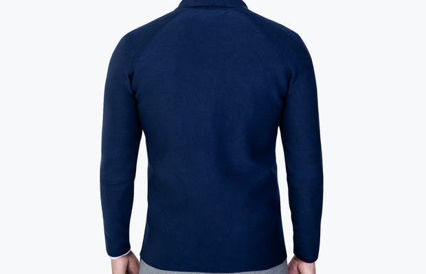 Men's Navy 3D Print-Knit Blazer model facing away from camera