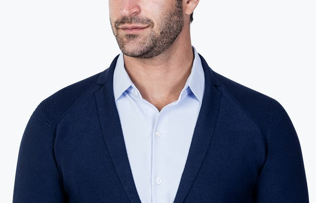 Men's Navy 3D Print-Knit Blazer close up model facing forward