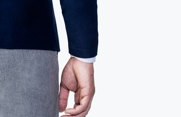 Men's Navy 3D Print-Knit Blazer close up of sleeve from behind