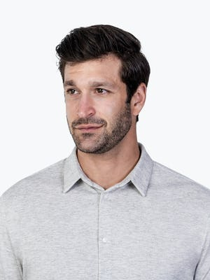 Men's Grey Composite Merino shirt headshot of model looking to the right