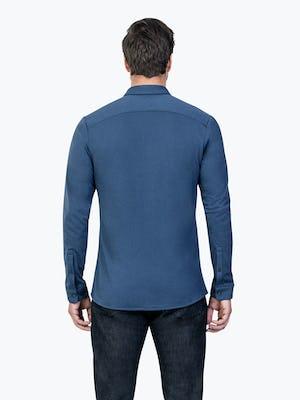Men's Cadet Blue Composite Merino shirt model facing backward