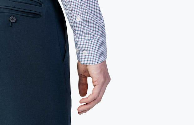 Men's Aero Dress Shirt - Purple Tattersall close shot of sleeve