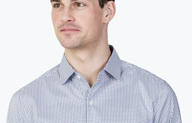 Men's Aero Dress Shirt - Purple Tattersall close shot facing forward
