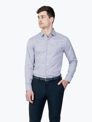 Men's Aero Dress Shirt - Purple Tattersall model with hand in pocket