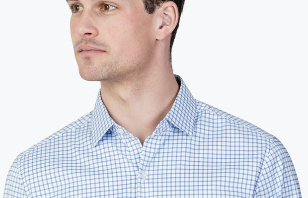 Men's Aero Dress Shirt - Blue Grid close shot facing forward