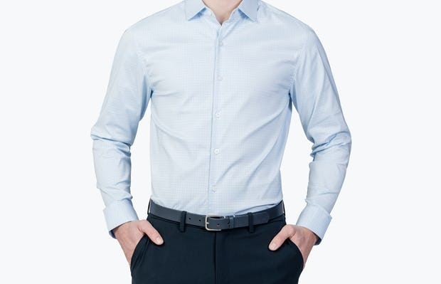 Men's Sky Blue End on End on Model facing forward with hands in pockets