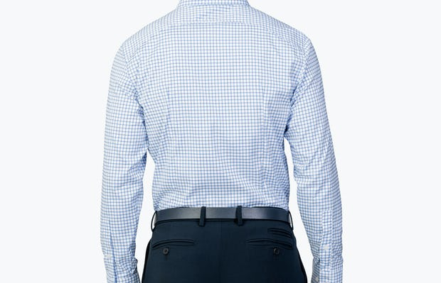 Men's Aero Dress Shirt - Blue Grid model facing away from camera