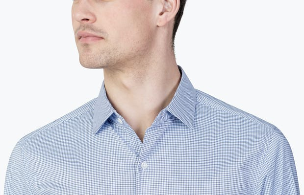 Close up of Men's Blue on Blue Grid Aero Dress Shirt on Model facing forward