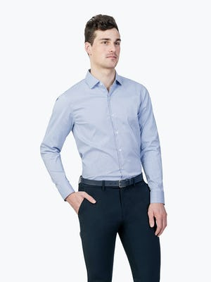 Men's Blue on Blue Grid Aero Dress Shirt on Model facing forward with hand in pant pocket