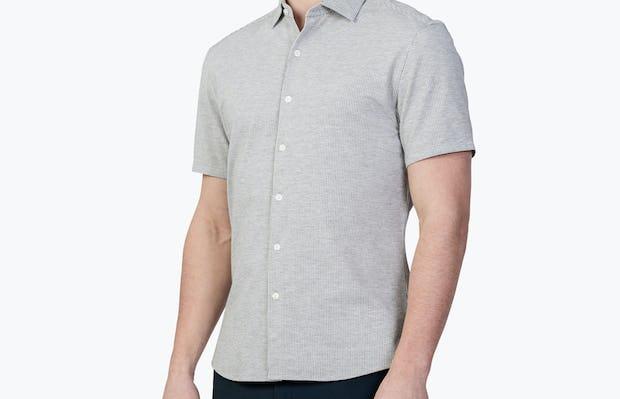 Men's Grey Stripe Hybrid Seersucker Slim Short Sleeve on Model Facing Left