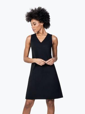 Women's Black Kinetic A-Line Dress on Model Looking Down