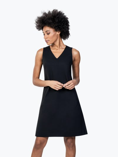 Women's Black Kinetic A-Line Dress on Model Looking Down