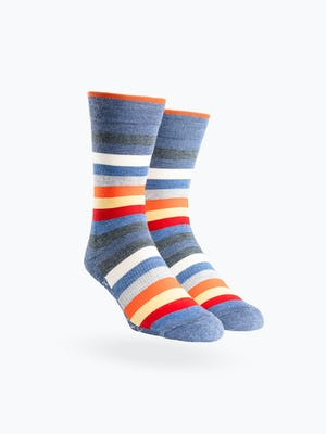 Navy Tip Multistripe Atlas Dress Socks