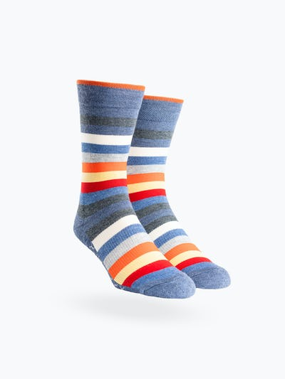 Navy Tip Multistripe Atlas Dress Socks