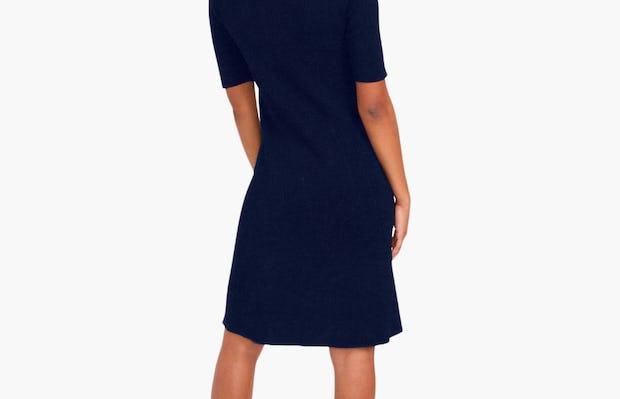 Women's 3D Print-Knit Dress - Navy - Image 4