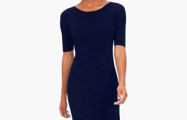 Women's 3D Print-Knit Dress - Navy - Image 1