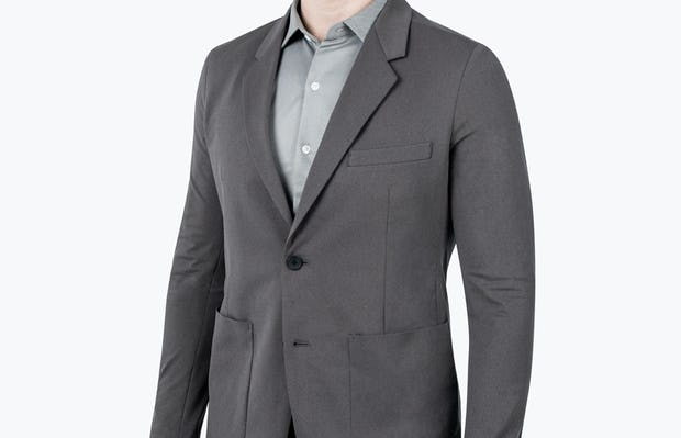 Men's Charcoal Heather Kinetic Blazer - model slightly turned and looking forward