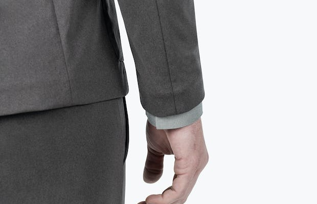 Men's Charcoal Heather Kinetic Blazer - close shot of sleeve