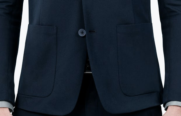 Men's Navy Kinetic Blazer - close shot of buttons and pockets