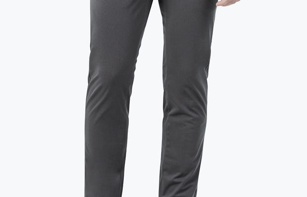 Men's Charcoal Kinetic Pants on model with right hand in pocket