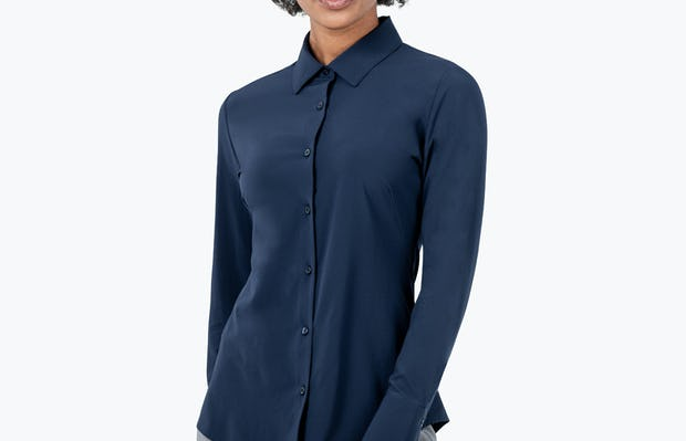 Women's Navy Juno Recycled Tailored Shirt on Model Facing Forward