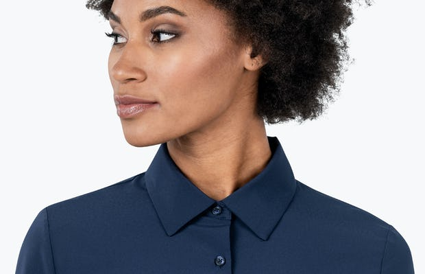 Women's Navy Juno Recycled Tailored Shirt on Model in Close-up of Her Shirt Collar