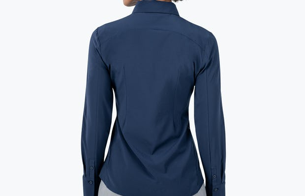 Women's Navy Juno Recycled Tailored Shirt on Model Facing Back