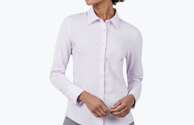 Women's Pale Pink Juno Recycled Tailored Shirt on Model Looking to Her Right