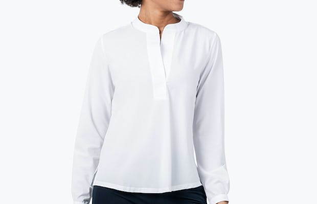 Women's White Juno Popover on Model Looking to Her Left