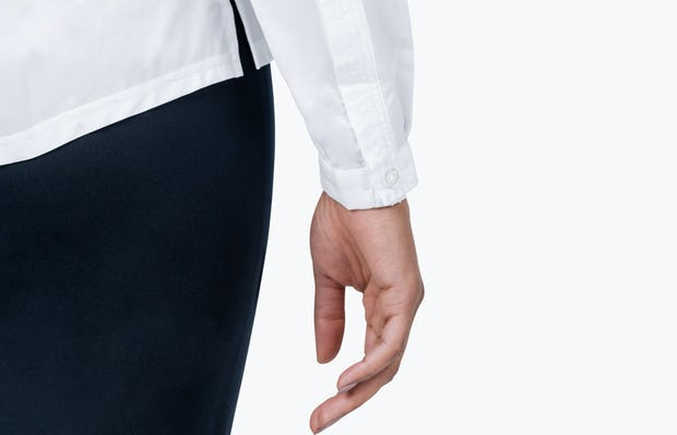 Women's White Juno Popover on Model in Close-up of Her Shirt Cuff