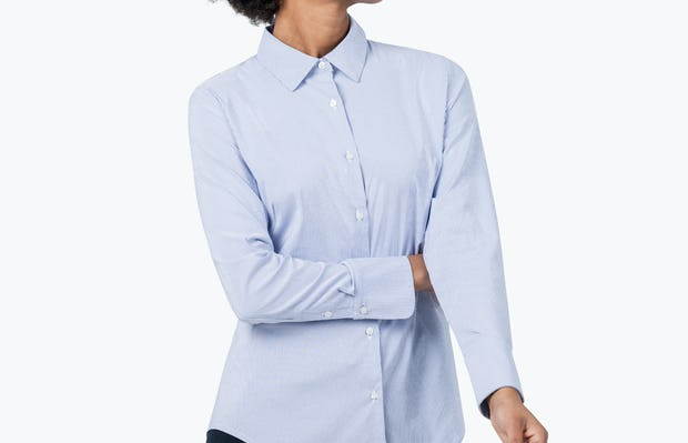 Women's Aero Dress Shirt - Blue Stripe - Image 4
