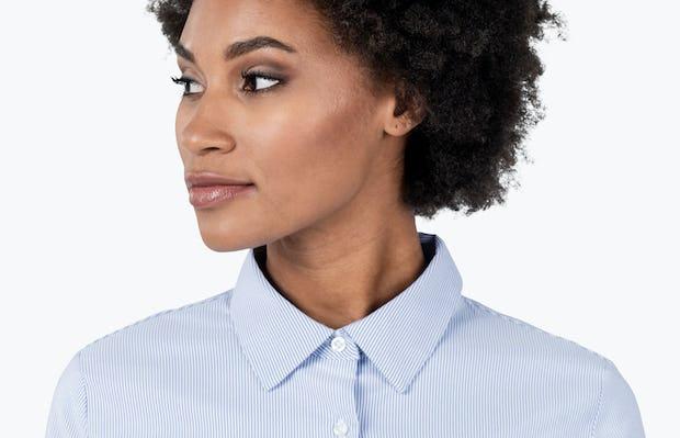 Women's Blue Stripe Aero Dress Shirt on Model in Close-up of her Shirt Collar